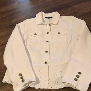 Talbots white jean jacket with eyelet detail